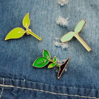 broches de pano venda por atacado-Broche Pin Verde Folha Broto de Feijão Esmalte Duro Pin Lapela Pin Broches Emblemas Pano Bolsa Acessório Presente Da Jóia KKA6912