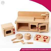 Solid wood pretend play kitchen set Simulation beech cooktop kitchen range  cupboard cookware play house toys for children Infant eduction