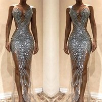 Wholesale see lace black prom dress resale online - Gorgeous Silver Mermaid Prom Dresses Sexy See Through Tulle Bodice Split Long Women Occasion Evening Gowns