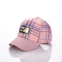 Wholesale ball cap online - Kids Plaid Hat Baseball Cap Letter Printed Hats Snapbacks Summer Sunhat Fashion Hip Hop Cap Baby Outdoor Ball Caps GGA1969