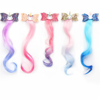 Wholesale child long hair resale online - 3 quot Cheer Bow Glitter Hairbow Girls Kids Children Hairclip With Cartoon Unicorn Long Wig Baby Lovely Hairgrip Hair Accessories