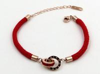 chinesisches rotes seilarmband großhandel-Rote Seil-Serie Römische Ziffern Quadratischer Diamant-Doppelring Rotes Armband aus Roségold Dieses Jahr ist der chinesische rote Schmuck rot