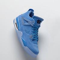 mavi süet toptan satış-4 s unc Mavi oyuncu edition ÜST Fabrika Sürüm 4 Basketbol Ayakkabı mens eğitmenler 2019 Kutu ile süet Sneakers