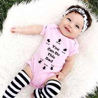 Wholesale newborn baby girl clothing online - You Can Do This Dad Letters Printed Newborn Baby Girls Boys Outfit Cute Cotton Romper Playsuit Bodysuit Summer Clothes