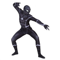 ingrosso vestito nero dello spiderman dei capretti-Costumi Cosplay Lycra Black Spiderman Zentai Costumi per Uomo Kids Supereroe Costume Tuta Cosplay taglia personalizzata