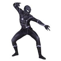 terno preto do homem-aranha dos miúdos venda por atacado-Lycra Black Spiderman Terno Zentai Trajes Cosplay para Homem Crianças Superhero Bodysuit Traje Cosplaycustomized Tamanho
