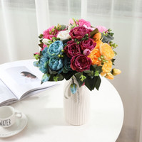 Wholesale roses buds resale online - Artificial Flowers Silk Rose Bouquet Fake Peony Big Head and Bud Wedding Decorative Flowers Party Decor Colors WZW YW3288