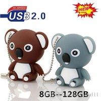 tier-flash-karten großhandel-Netter Karikatur-Koala-Bär USB-Blitz-Antrieb 32GB ZWEI FARBEN Memory Stick Pen Drive Kühle grelle Karte Netter Tier-USB-Blitz-Antrieb U40