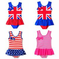 Wholesale 2t one piece bathing suits resale online - Baby Girls Swimwear UK American flag Girl Bathing Suit One Pieces Ruffled Kids Swimsuit Children Swim Wear Summer Kids Clothing YW3024