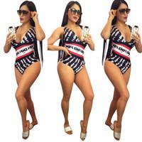 v-ausschnitt badebekleidung großhandel-FF Frauen Badeanzüge Sommer One Piece Deep V-Ausschnitt Bikini Bademode Kleidung Anzug