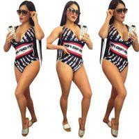 boyun mayo toptan satış-FF Kadınlar Mayo Yaz Tek Parça Derin V boyun Bikini Mayo Giyim Suit