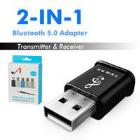 bluetooth tv ses vericisi toptan satış-2 in 1 Mini Bluetooth Ses Alıcısı Verici BT5.0 3.5mm AUX Kablosu Ile TV PC Için Kablosuz Adaptörü Için Araba