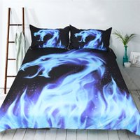 комплекты одеял для животных оптовых-Blue Fire Bedding Set Cool Dragon Bed Cover Animal 3D Printed Duvet Cover Set Microfiber Black Bedclothes 3-Piece