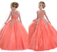 vestidos para adolescentes aniversários venda por atacado-Novos 2020 das meninas Pageant Vestidos para Adolescentes Princesa Tulle Jewel Cristal Beading Coral crianças Flor Meninas Vestidos Vestido de aniversário