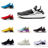 mejores botas de carrera al por mayor-2019 la mejor calidad zapatillas de correr Pharrell Williams HUMAN RACE Hombres originales NMD BBC zapatos de diseño para mujer botas de trail de HU con caja