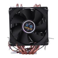 cables de calor doble al por mayor-LANSHUO 4 Heat Pipe 4 cables sin luz Doble ventilador Cpu Ventilador Radiador Enfriador del disipador de calor para Intel Lga 1155/1156/1366 Enfriador
