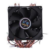 doppelwärme drähte großhandel-LANSHUO 4 Heat Pipe 4 Draht ohne Licht Doppelter Lüfter Cpu Lüfter Kühler Kühler Kühlkörper Für Intel Lga 1155/1156/1366 Kühler