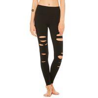 schwarze lochgamaschen großhandel-Löcher Schwarze Leggings Hosen Legging Frauen Fitness Streetwear Elastizität hohe Taille Leggings