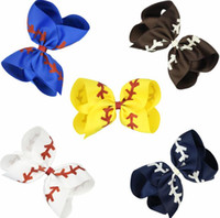 Wholesale baseball bows resale online - 4 inch Baseball Hair Clip Colors Kids Glitter Printed Ribbon Bow Handmade Bowknot Hairgrips Girls Hair Accessories new OOA6648