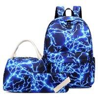 ingrosso set sacchetto di scuola coreano-Zaino per scuola impermeabile in nylon 3pcs / set Zaino per borse da scuola in stile coreano Borse da studente alte