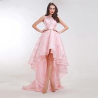 платья возвращения домой оптовых-Новые стили Розовые платья для выпускного с цветочным узором 2019 Элегантное A-Line Sweep Train Шикарный дизайн Короткие платья для женщин Hi-Lo Homecoming платье