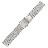 fecho de mola de aço inoxidável venda por atacado-20/22 de polegada de malha de aço inoxidável banda de relógios faixa de relógio delicado fecho de dobramento pulseira de relógio de pulso com 2 barras de mola do interruptor