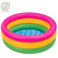 piscinas infantis infláveis venda por atacado-Atacado-86 * 25 cm Influable Trinuclear Inflável Piscina Baby Swimming Pool Portátil Crianças Bacia Banheira flutuar na natação