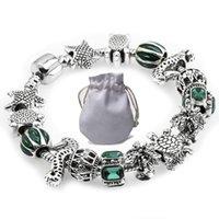 bijoux ajourés achat en gros de-2019 Populaire Bracelets Fit Pandora Femmes Bracelet Argent Perles Ajourées Sculptées Creusées Starfish Ancre Émeraude Strass Bijoux P181