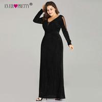 108ba192fe8bbf Plus Size Evening Dresses Long Ever Pretty Elegant Sparkle Mermaid V-neck  Velvet Long Sleeve Black Wedding Guest Gowns T190604
