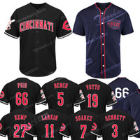 ingrosso jersey kemp-Maglia Cincinnati Throwback Reds Yasiel Puig Matt Kemp Joey Votto Eugenio Suarez Majestic 1911 Throwback Cool Base Maglie da baseball
