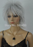 Wholesale beautiful sexy wig resale online - WBY FSX5982Q gt gt New Style Light Silver Gray Straight Short Cosplay women sexy and beautiful Wig