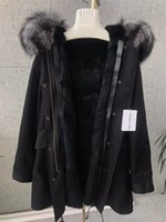 Wholesale pictures foxes for sale - Group buy Real pictures show silver fox fur trim Mukla furs black rex rabbit fur lining long black parkas snow coats for cold weather