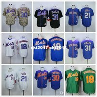 Wholesale darryl strawberry jersey green resale online - 18 Darryl Strawberry Lucas Duda Mike Piazza Retro Jerseys blue green gray white