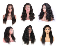 Wholesale 28 human hair lace wigs resale online - Brazilian Straight Human Hair Front Lace Wigs Body Loose Deep Wave Jerry Kinky Curly Full Lace Wigs Bleached Knots Human Hair Wigs Baby Hair