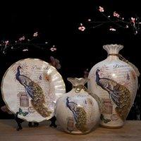 jarrones para bodas centros de mesa al por mayor-3 pc / set Jarrón de cerámica de Europa Estantes de curiosidades Decoración nórdica Inicio Florero Centros de mesa Para bodas Floreros tradicionales