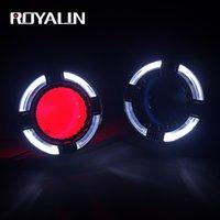 volle scheinwerfer großhandel-Großhandel Full Metal LED H1 Bixenon Projektor Scheinwerfer Objektiv Angel Eyes Halo-Ring H4 H7 Auto Styling Quadrod Maske Blue Devil Eyes