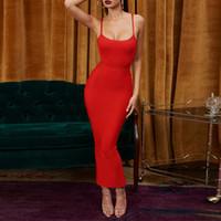 robe côtelée achat en gros de-Ocstrade Nouvelle Arrivée Femmes Robe Rouge Bandage 2019 Mode Été Côtelé Moulante Longue Maxi Bandage Robe Robes De Soirée