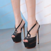 95dd4274a50 16cm Transparent Heels Black Shoes Sexy Stripper Shoes Party Pumps Summer  Thin Heel Platform High Heel Sandals Ladies Shoes