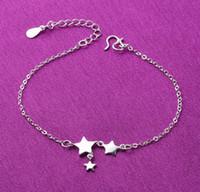 colgante estrella 925 al por mayor-tobilleras pulseras de tobillo 9 estilos 925 joyas de plata esterlina tobillera con estrella bola flor colgante envío gratis