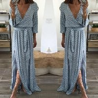 Wholesale evening dresses outfits for sale - Group buy Fashion Formal Cute Newly Women Ladies Long Sleeve V Neck Sashes Straight Floor Length Print Dress Outfit Evening Party