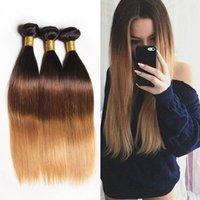 ingrosso aziende brasiliane dei capelli all'ingrosso-3 Tone Indian Ombre Capelli Lisci 3/4 Bundles Tissage Cheveux Humain Blonde Ombre Remy Capelli Umani Bundle Lisci
