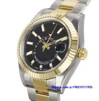 современный мужской ремешок для часов оптовых-Оригинал Box сертификат Повседневные современные мужские часы 326933 Мужские двухцветные стальные золото черный индекс 42мм часы