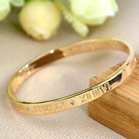 Wholesale gold roman numeral bangle for sale - Group buy High Quality Roman Numerals Bracelet Titanium Steel Plated Rose Gold Simple Set Of Six Diamond Bracelet