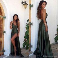 yeşil v yaka balo elbisesi toptan satış-2019 Zeytin Yeşil Backless Bölünmüş Zarif Basit Balo Parti Elbise V Yaka Uzun Kat Uzunluk Abiye giyim