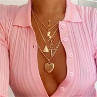 ingrosso collane di faraone-Collana di design Collana a più strati in oro Foglia di acero Faraone Piramide Cuore Collane Collane a girocollo Pendenti impilabili Gioielli da donna