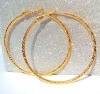 brincos de rastreamento venda por atacado-Grande círculo New Pure 24 K Ouro Amarelo GF Hoop / Perfeito Grande Círculo Brincos 3g Melhor Embalado Tem Número de Rastreamento