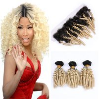 Wholesale peruvian romance curl hair online - Blonde Ombre Hair With Frontals Bouncy Curl Funmi Hair Bundles Deals With Lace Frontal Closure Romance Curl Virgin Brazilian Human Hair