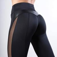Wholesale leather leg for sale - Group buy Mesh Leggings Women Fitness Legging PU Leather pants leggins Heart Workout Leggings Femme Leggings Stock in USA