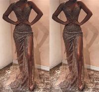 Wholesale black event dresses resale online - Sliver Full Sequins Mermaid Long Prom Dresses With Front Slit Sexy Tull One shoulder Tulle Formal Event Evening Dresses