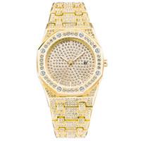 фирменные часы бриллианты оптовых-Оптовые Часы Мужские Роскошные Алмазные Календарь Золотой Цвет Дизайнерские Часы Кварцевые Часы Марка Наручные Часы Montre Homme Подарки